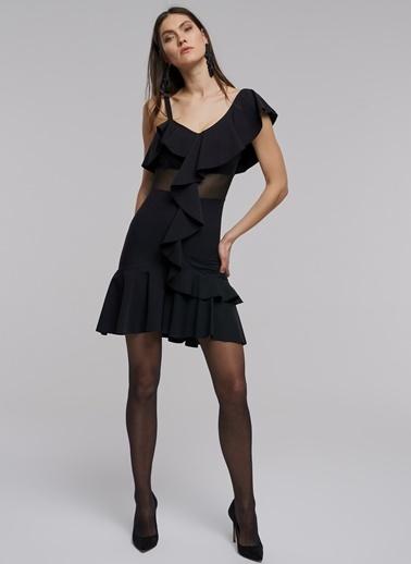 People By Fabrika Volan Detaylı Mini Elbise Siyah